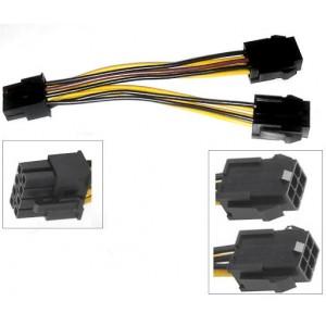 კაბელი Dual Famale 6-pin  to 8-Pin PCIe  0.15m